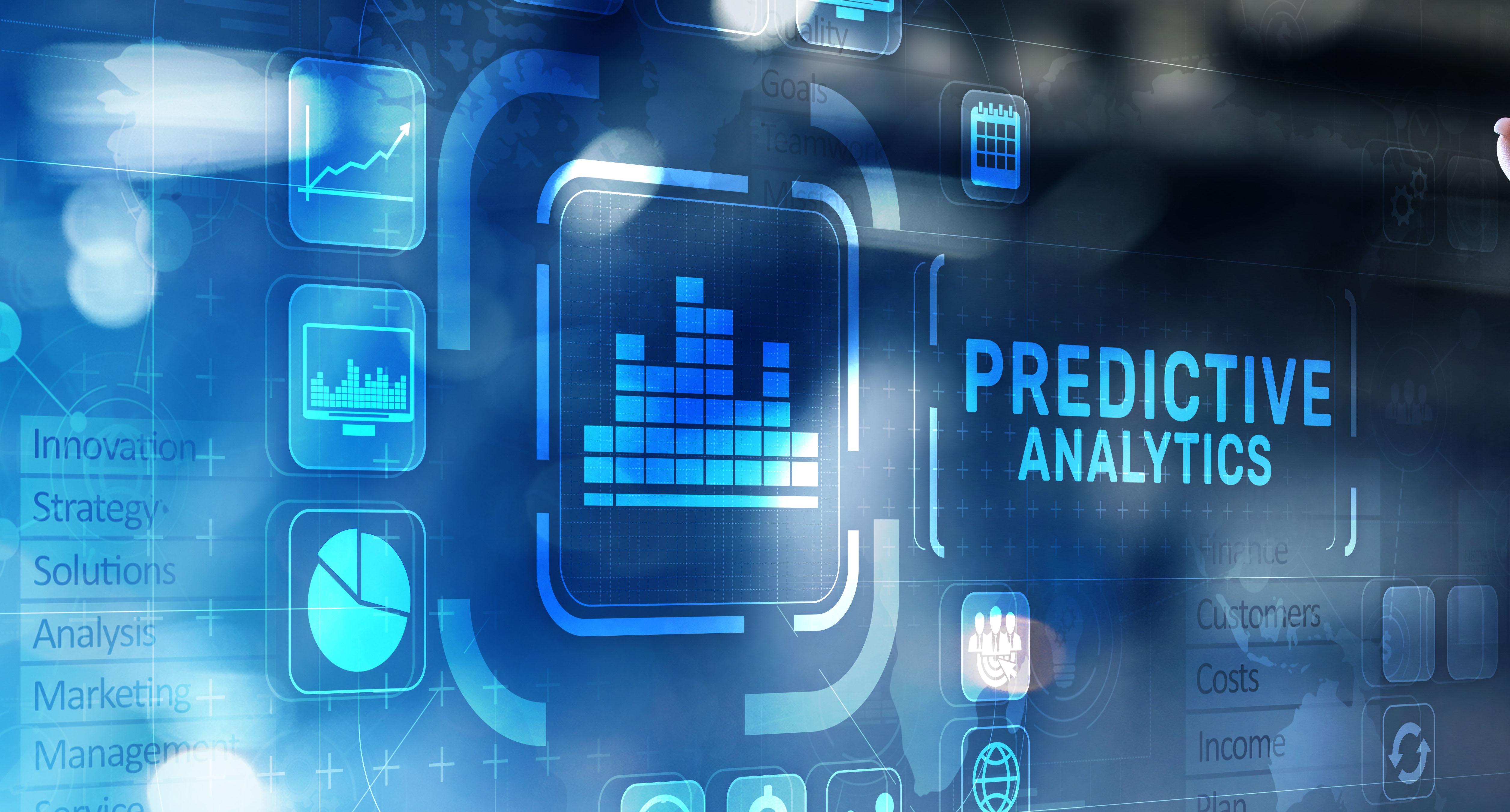 Predictive analytics Big Data analysis Business intelligence internet and modern technology concept on virtual screen.
